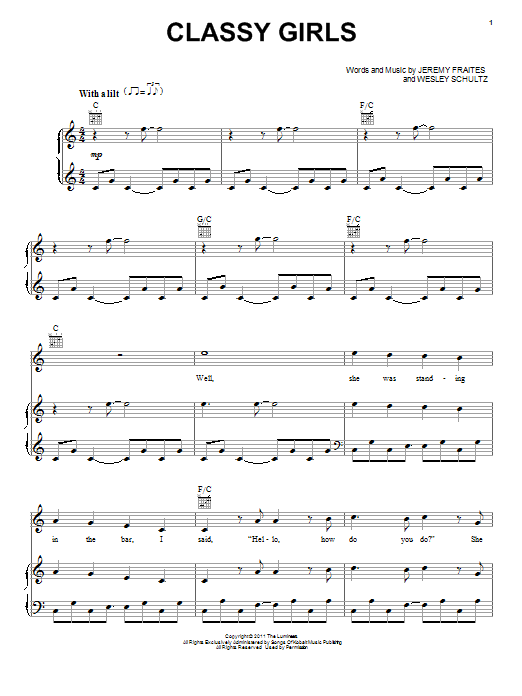 Download The Lumineers 'Classy Girls' Digital Sheet Music Notes & Chords and start playing in minutes