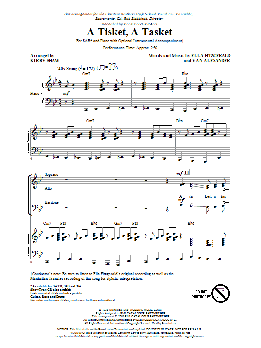 The Manhattan Transfer A-Tisket, A-Tasket (arr. Kirby Shaw) sheet music preview music notes and score for SAB including 11 page(s)