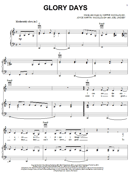 The Martins Glory Days sheet music notes and chords