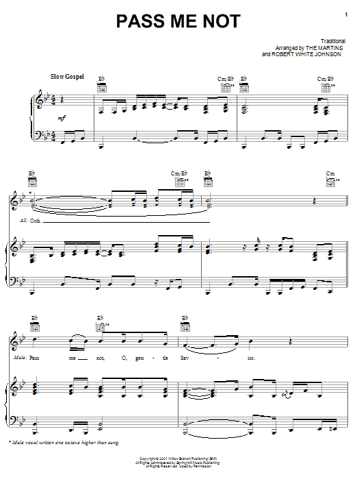 The Martins Pass Me Not sheet music preview music notes and score for Piano, Vocal & Guitar (Right-Hand Melody) including 8 page(s)