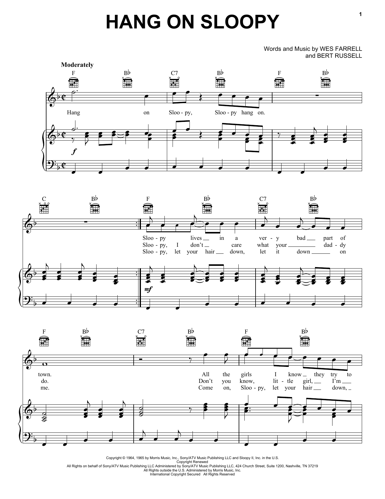 The McCoys Hang On Sloopy sheet music preview music notes and score for Guitar Tab including 5 page(s)