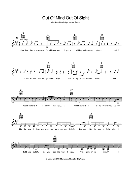The Models Out Of Mind, Out Of Sight sheet music preview music notes and score for Melody Line, Lyrics & Chords including 2 page(s)