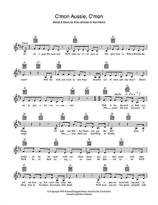The Mojo Singers C'mon Aussie, C'mon sheet music preview music notes and score for Melody Line, Lyrics & Chords including 3 page(s)