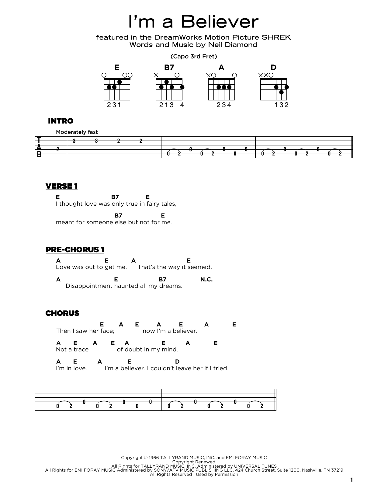 The Monkees I'm A Believer sheet music notes and chords