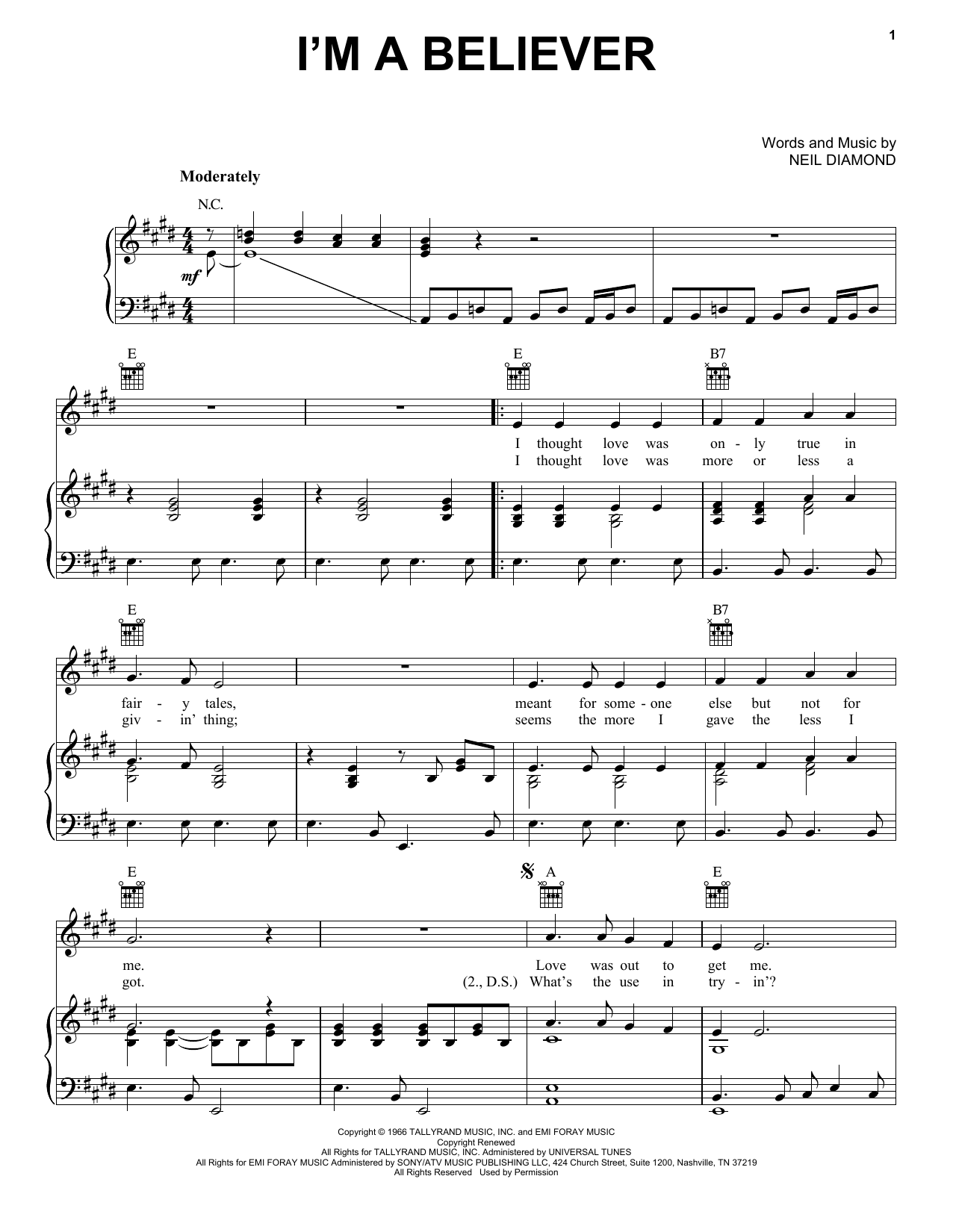 The Monkees I'm A Believer sheet music preview music notes and score for Piano, Vocal & Guitar including 4 page(s)
