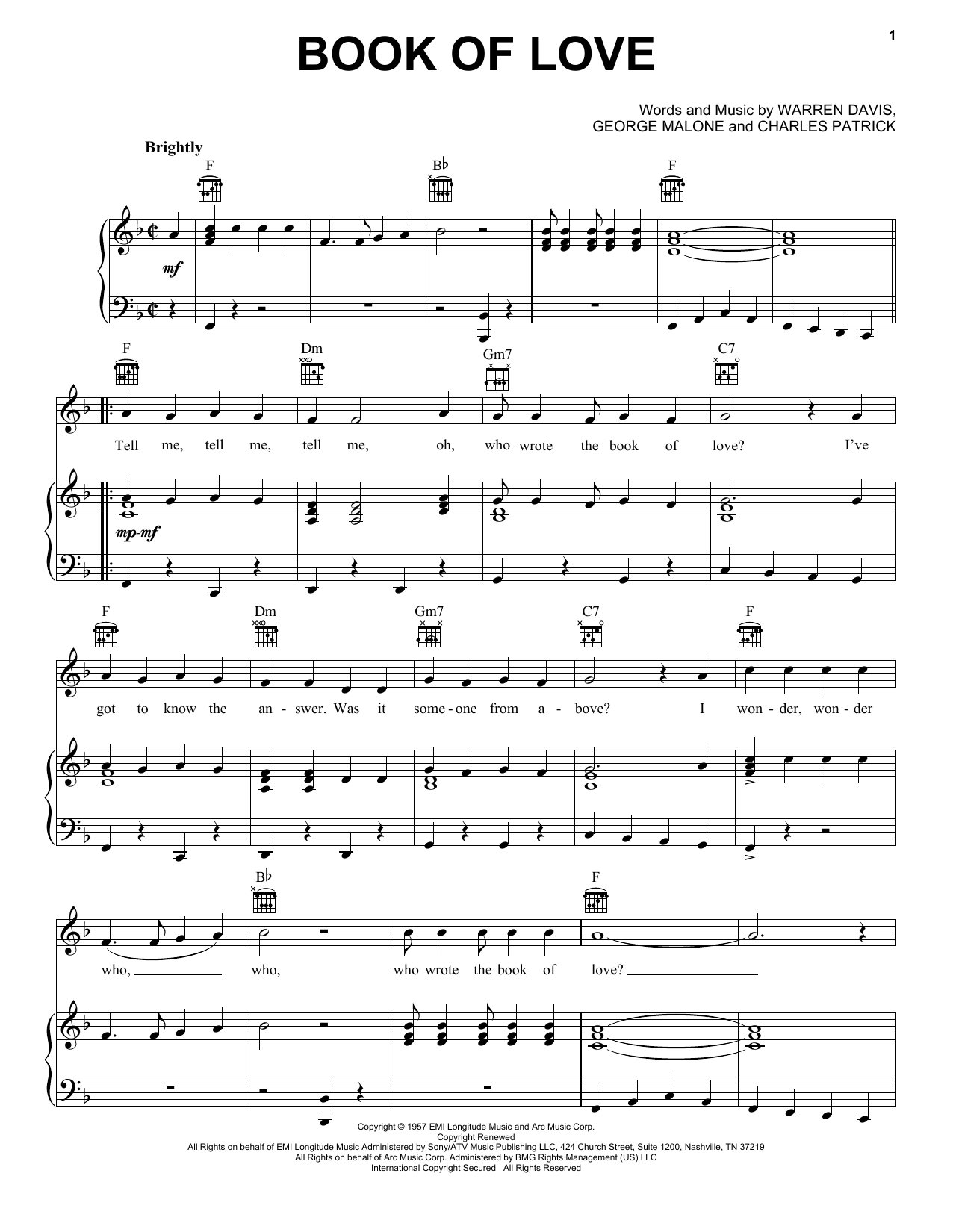 The Monotones Book Of Love sheet music notes and chords