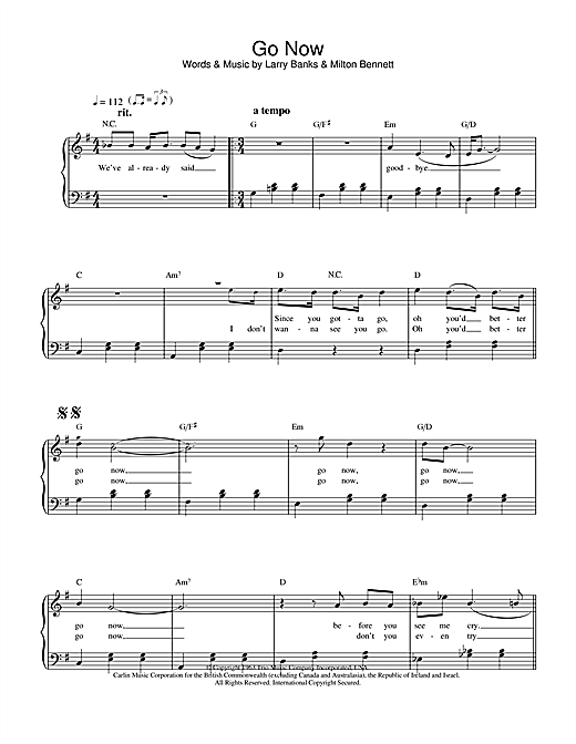The Moody Blues Go Now sheet music notes and chords