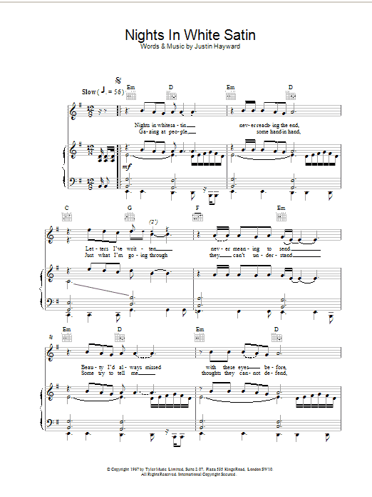 The Moody Blues Nights In White Satin sheet music preview music notes and score for Lyrics & Chords including 2 page(s)