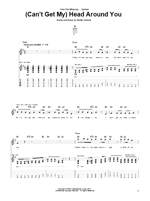 The Offspring (Can't Get My) Head Around You sheet music preview music notes and score for Guitar Tab including 5 page(s)