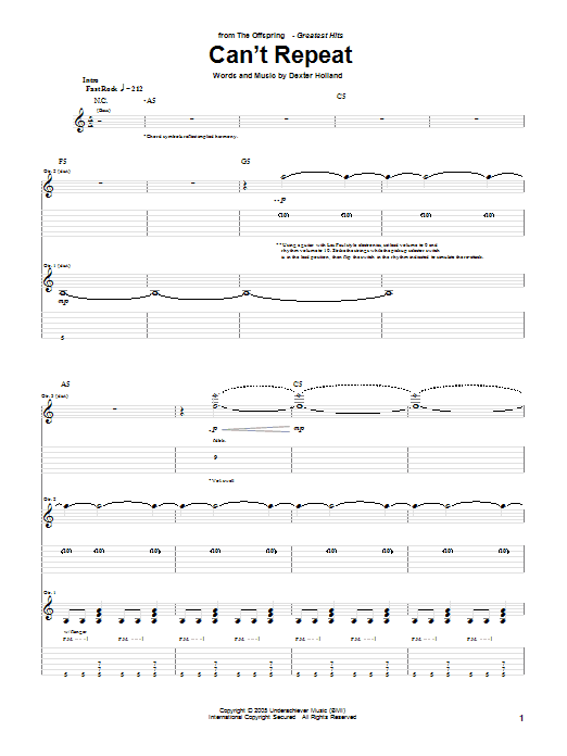 The Offspring Can't Repeat sheet music notes and chords