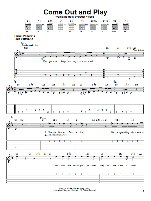 The Offspring Come Out And Play sheet music preview music notes and score for Easy Guitar Tab including 3 page(s)
