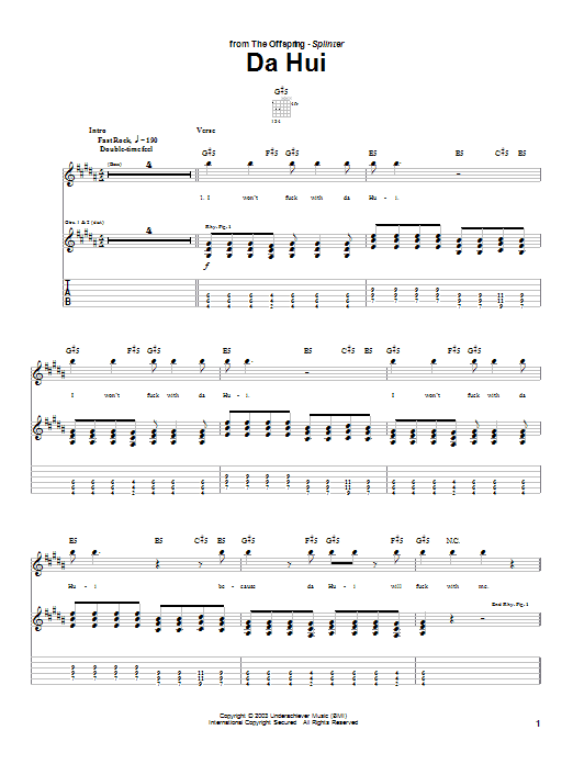The Offspring Da Hui sheet music preview music notes and score for Guitar Tab including 3 page(s)