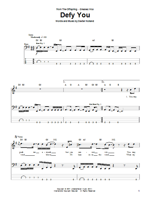 The Offspring Defy You sheet music preview music notes and score for Bass Guitar Tab including 5 page(s)