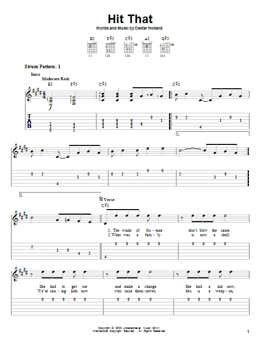 The Offspring Hit That sheet music preview music notes and score for Guitar Tab including 4 page(s)
