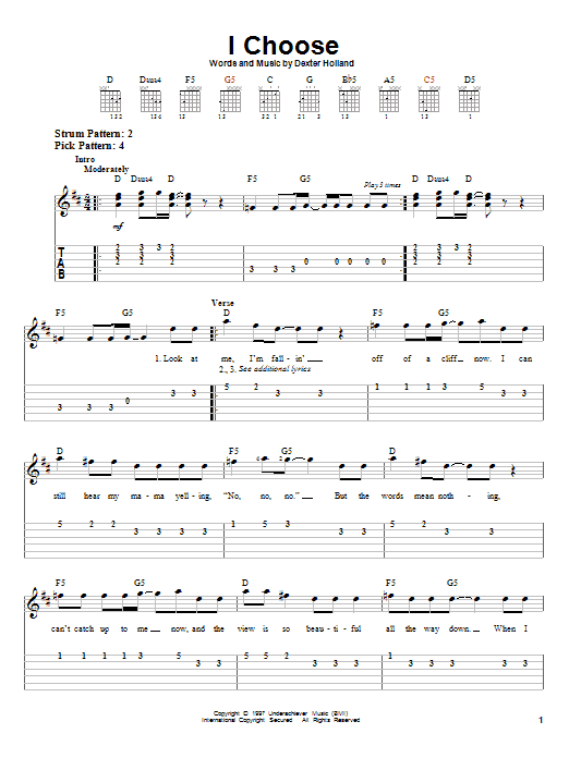 The Offspring I Choose sheet music preview music notes and score for Easy Guitar Tab including 4 page(s)