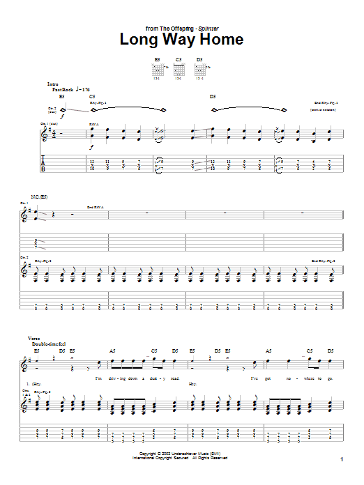 The Offspring Long Way Home sheet music preview music notes and score for Guitar Tab including 5 page(s)