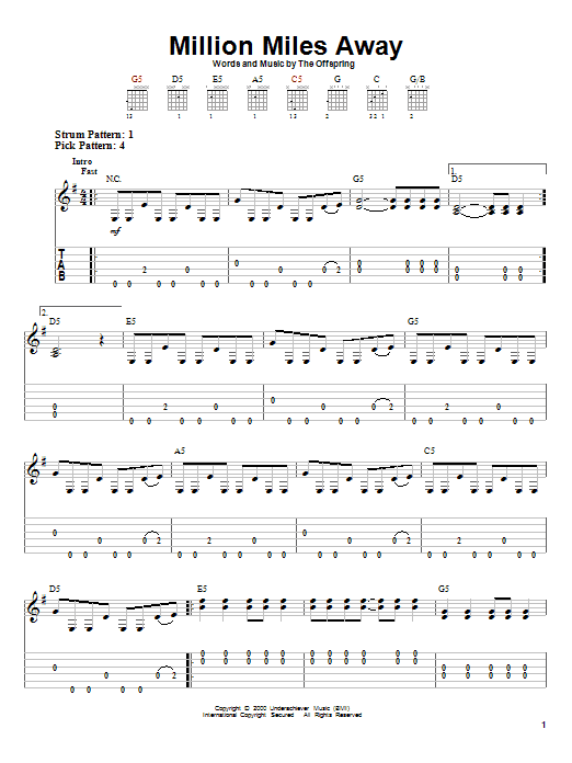 The Offspring Million Miles Away sheet music preview music notes and score for Easy Guitar Tab including 5 page(s)