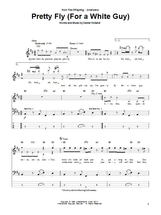 The Offspring Pretty Fly (For A White Guy) sheet music preview music notes and score for Bass Guitar Tab including 5 page(s)
