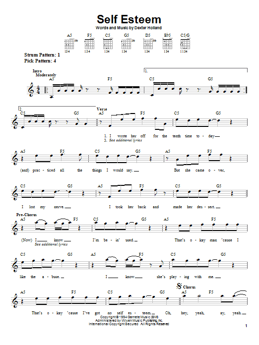 The Offspring Self Esteem sheet music preview music notes and score for Bass Guitar Tab including 5 page(s)