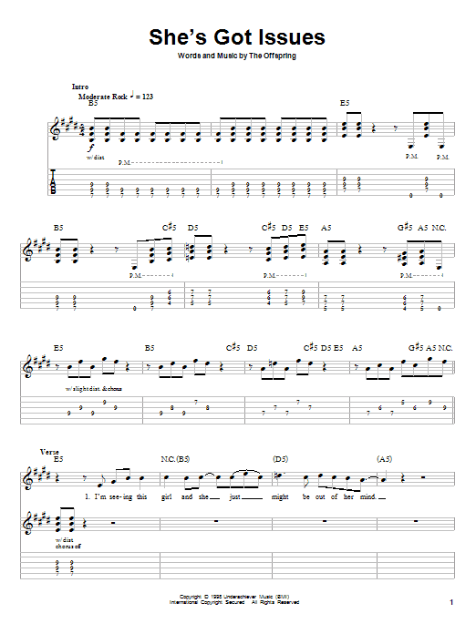 The Offspring She's Got Issues sheet music preview music notes and score for Guitar Tab including 9 page(s)