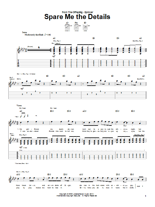 The Offspring Spare Me The Details sheet music preview music notes and score for Guitar Tab including 5 page(s)