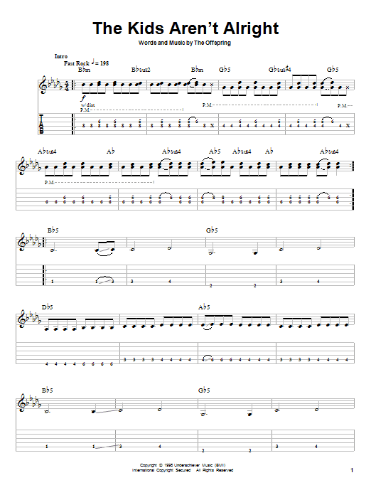 The Offspring The Kids Aren't Alright sheet music preview music notes and score for Guitar Tab including 6 page(s)