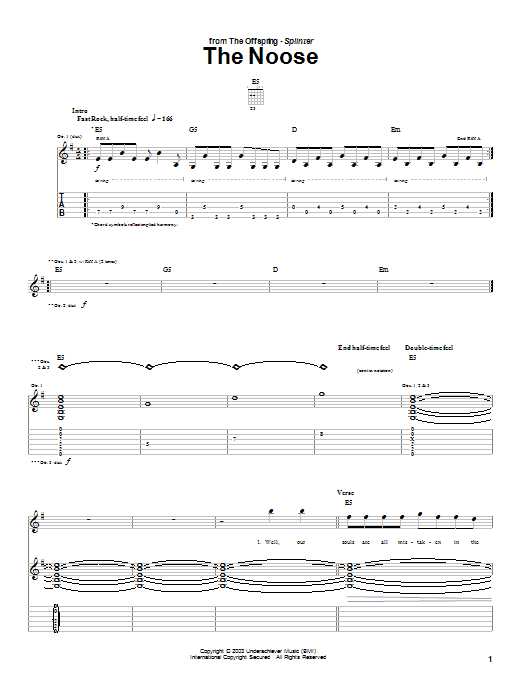 The Offspring The Noose sheet music preview music notes and score for Guitar Tab including 7 page(s)