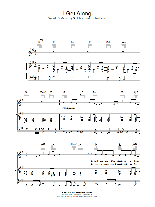 Pet Shop Boys I Get Along sheet music preview music notes and score for Piano, Vocal & Guitar including 6 page(s)