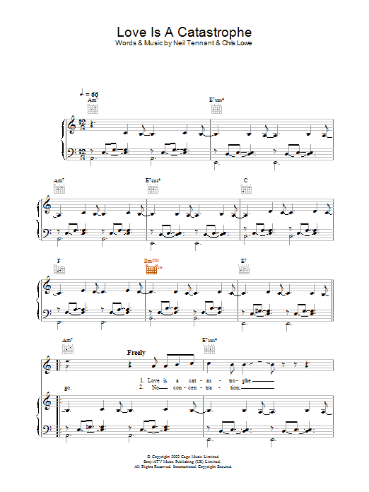 Pet Shop Boys Love Is A Catastrophe sheet music preview music notes and score for Piano, Vocal & Guitar including 7 page(s)