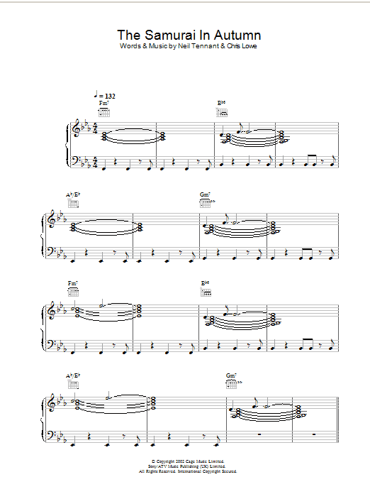 Pet Shop Boys The Samurai In Autumn sheet music preview music notes and score for Piano, Vocal & Guitar including 5 page(s)