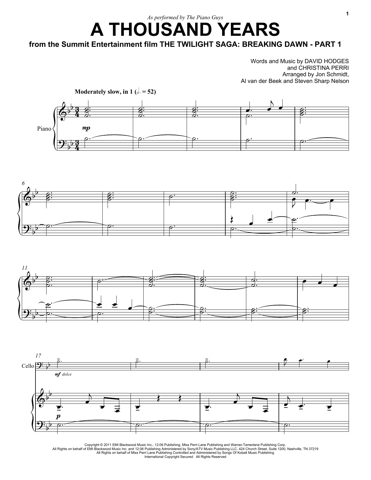 Download The Piano Guys 'A Thousand Years' Digital Sheet Music Notes & Chords and start playing in minutes