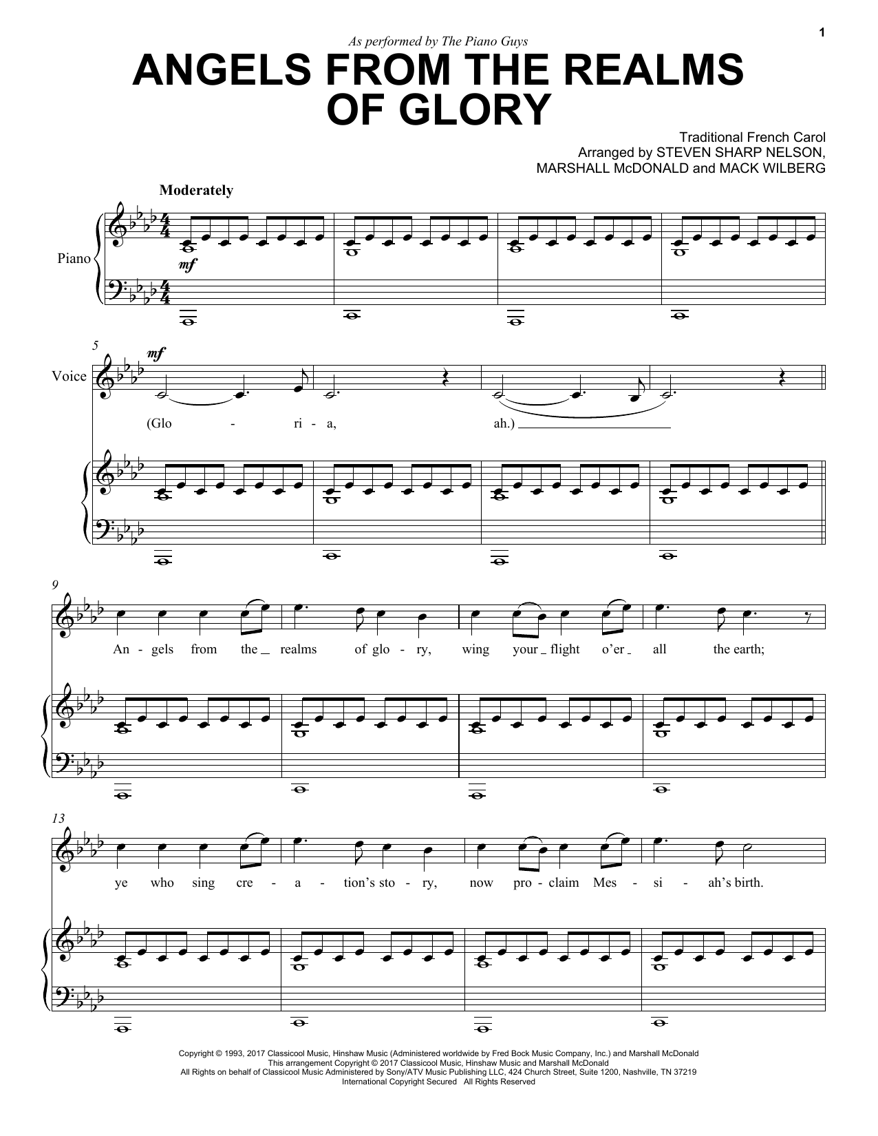 Download The Piano Guys 'Angels From The Realms Of Glory' Digital Sheet Music Notes & Chords and start playing in minutes