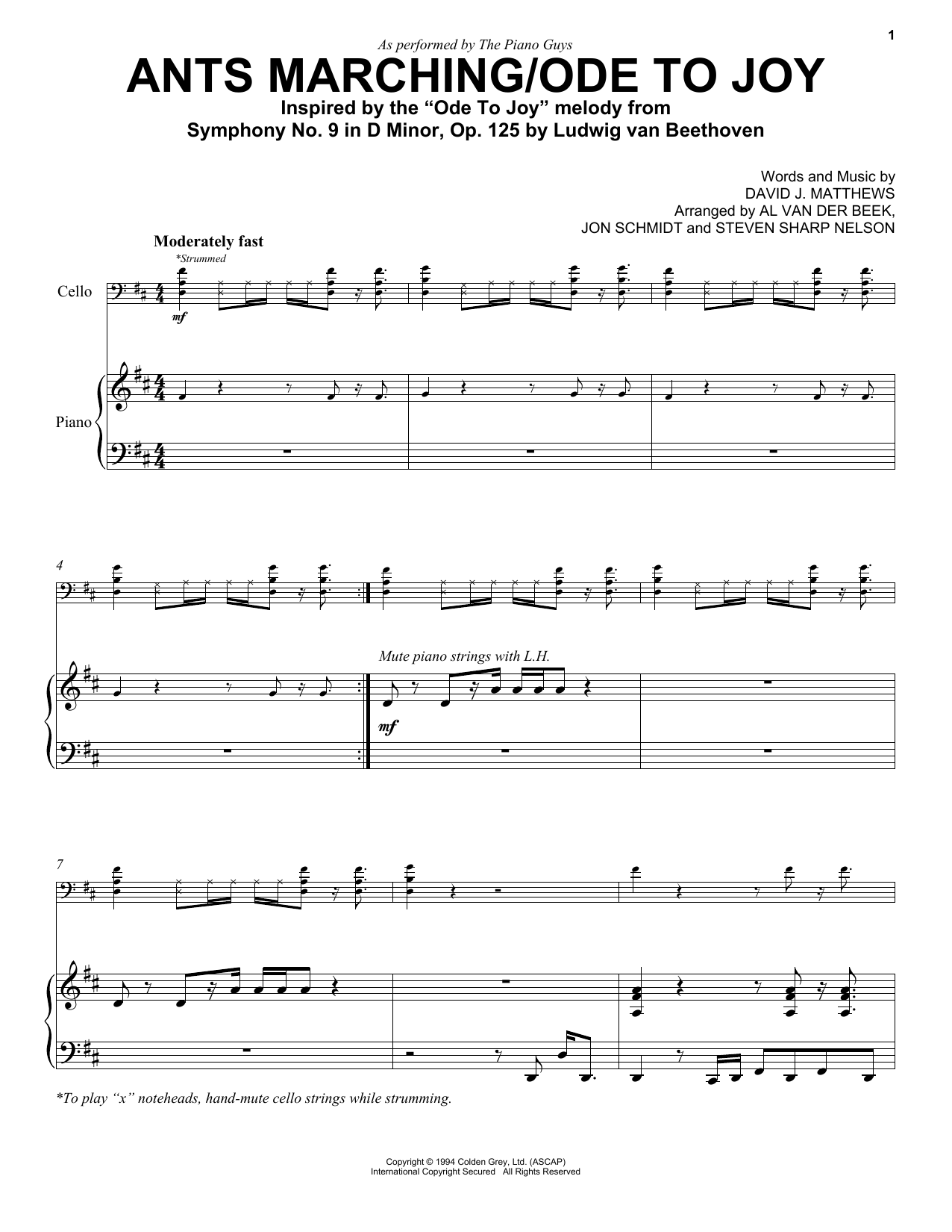 Download The Piano Guys 'Ants Marching/Ode To Joy' Digital Sheet Music Notes & Chords and start playing in minutes
