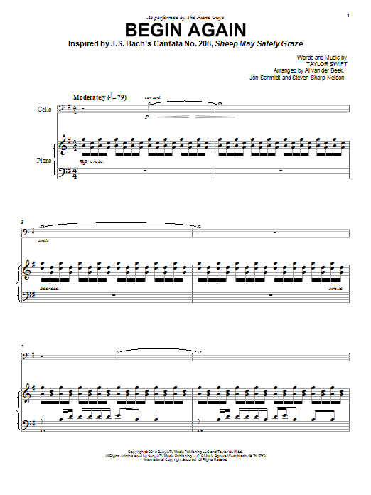 Download The Piano Guys 'Begin Again' Digital Sheet Music Notes & Chords and start playing in minutes