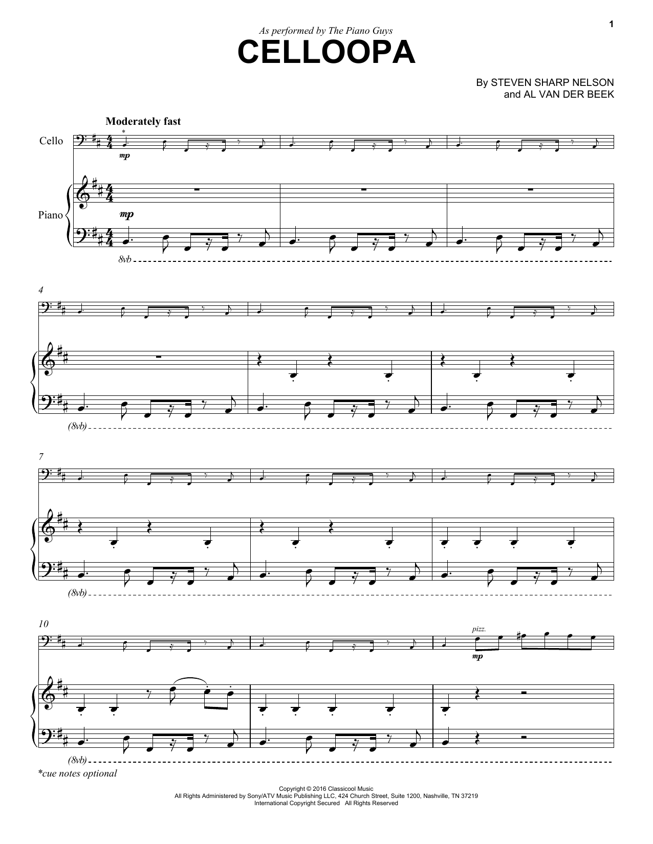 Download The Piano Guys 'Celloopa' Digital Sheet Music Notes & Chords and start playing in minutes