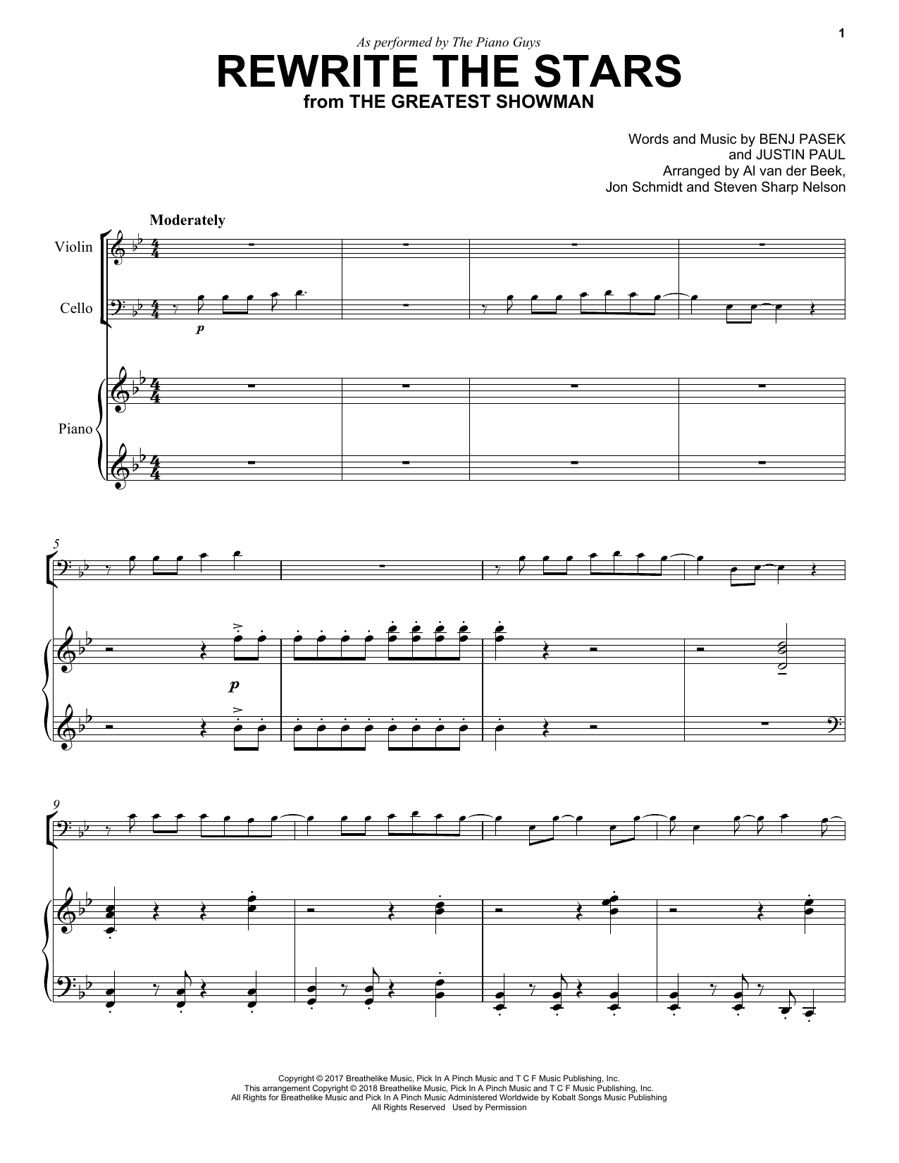Download The Piano Guys 'Rewrite The Stars' Digital Sheet Music Notes & Chords and start playing in minutes