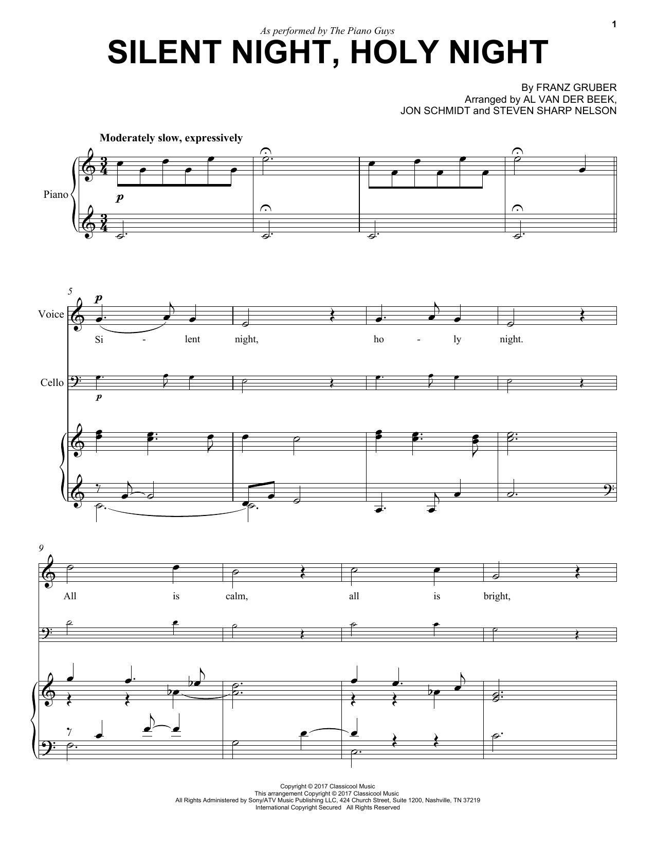 Download The Piano Guys 'Silent Night, Holy Night' Digital Sheet Music Notes & Chords and start playing in minutes