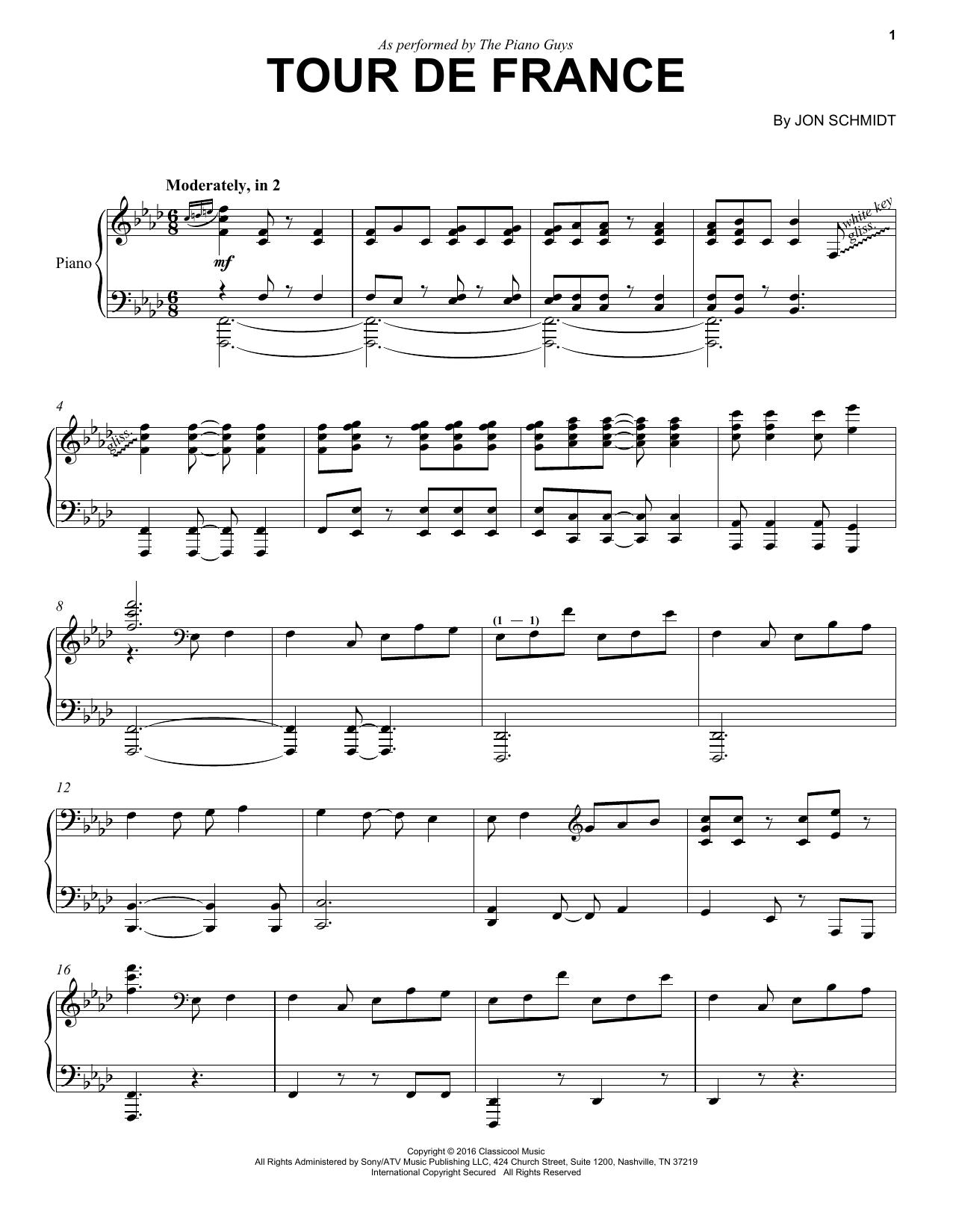 Download The Piano Guys 'Tour De France' Digital Sheet Music Notes & Chords and start playing in minutes