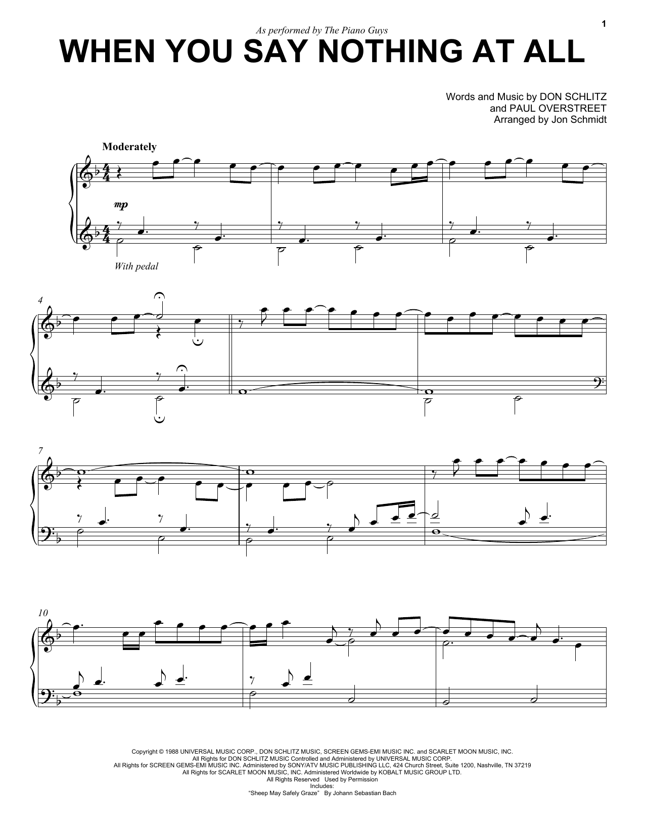 Download The Piano Guys 'When You Say Nothing At All' Digital Sheet Music Notes & Chords and start playing in minutes