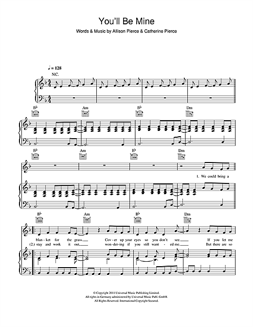 The Pierces You'll Be Mine sheet music notes and chords