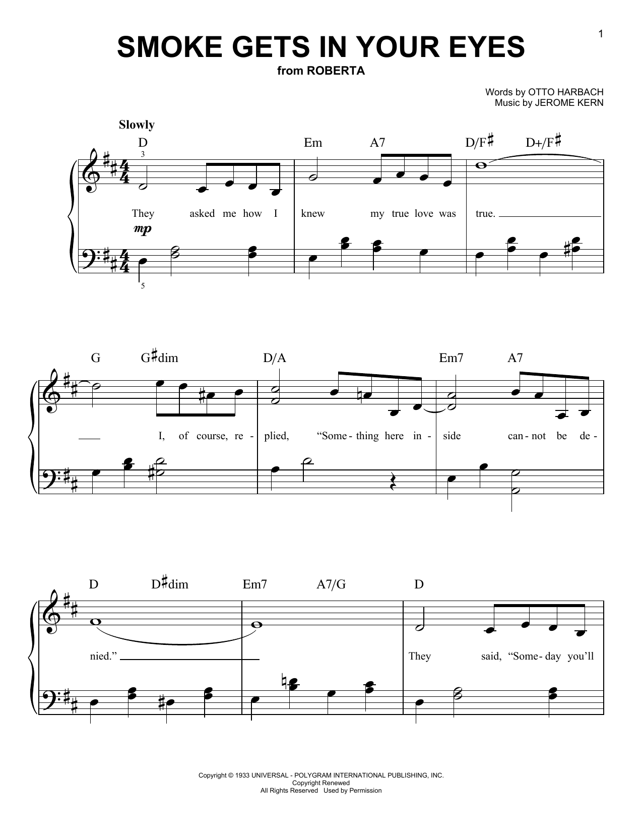 The Platters Smoke Gets In Your Eyes sheet music preview music notes and score for Lyrics & Chords including 2 page(s)