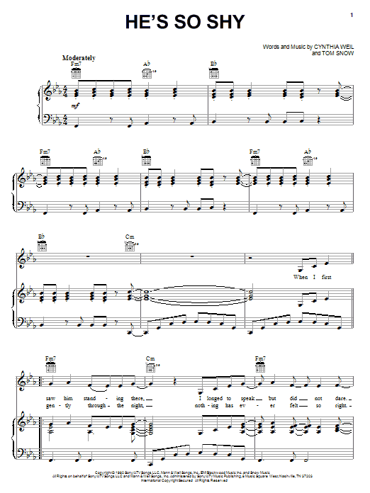 The Pointer Sisters He's So Shy sheet music notes and chords