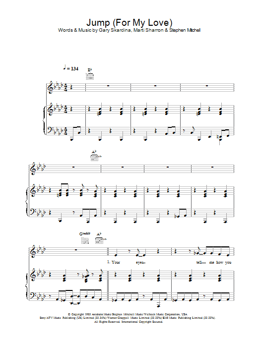The Pointer Sisters Jump (For My Love) sheet music preview music notes and score for Piano, Vocal & Guitar including 7 page(s)
