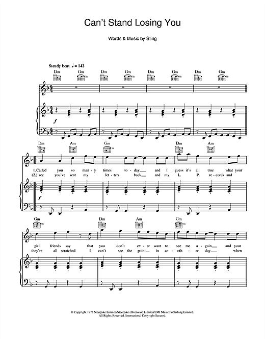 The Police Can't Stand Losing You sheet music notes and chords