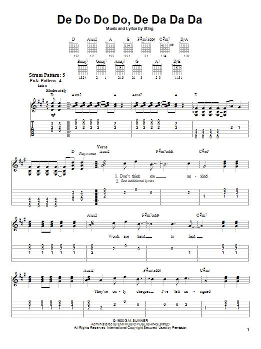 The Police De Do Do Do, De Da Da Da sheet music preview music notes and score for Easy Guitar Tab including 4 page(s)
