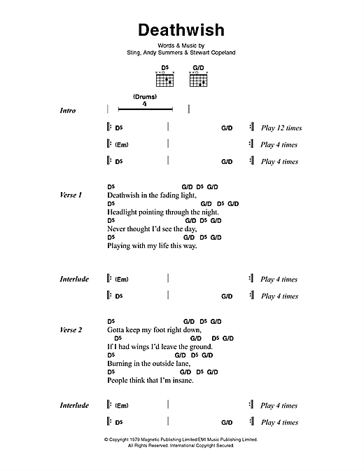 The Police Deathwish sheet music notes and chords