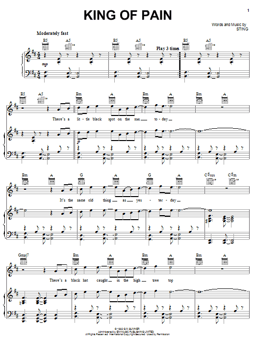 The Police King Of Pain sheet music notes and chords