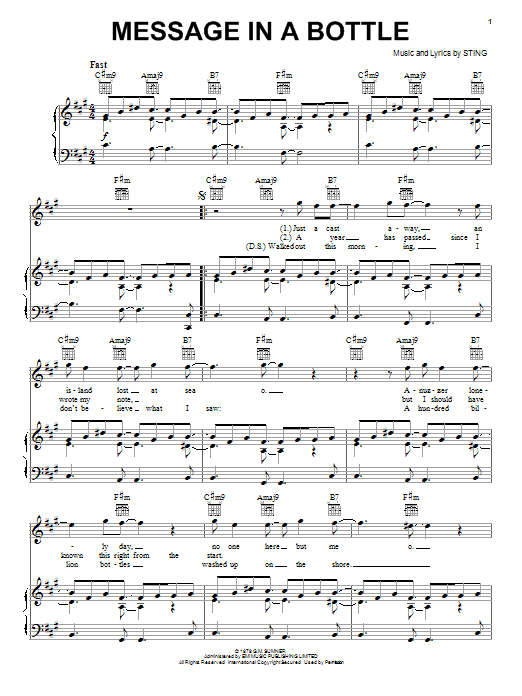 The Police Message In A Bottle sheet music notes and chords