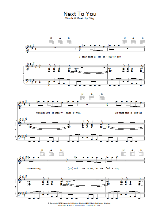 The Police Next To You sheet music preview music notes and score for Easy Guitar Tab including 4 page(s)