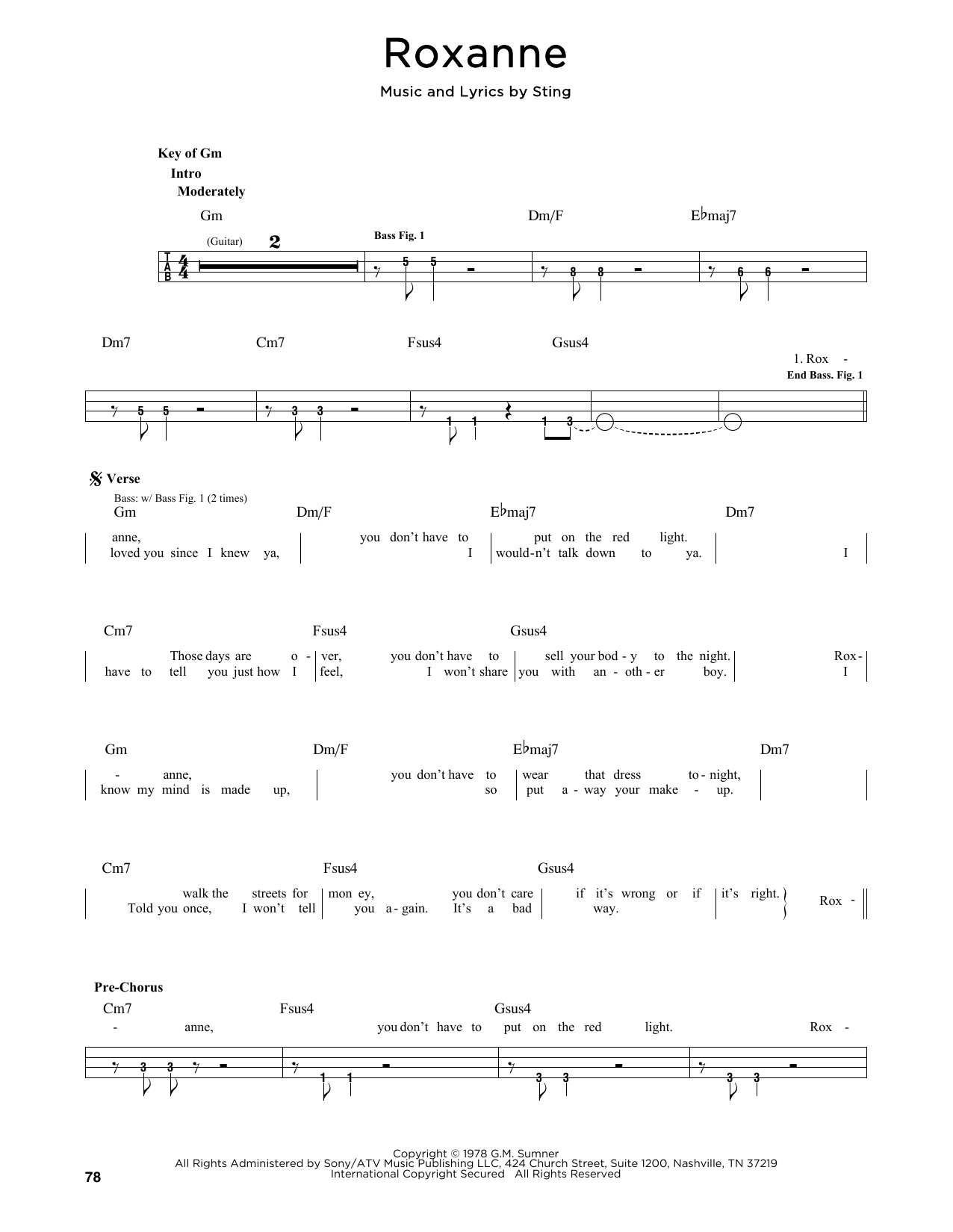 The Police Roxanne sheet music notes and chords